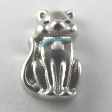 cat with blue collar premium silver