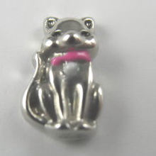 cat with pink collar premium silver