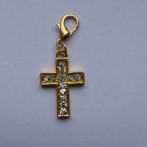 Metal Lobster Claw - Gold Cross with Clear Stones