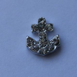 Silver Anchor With Crystals
