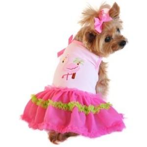 Dog Dress- Flamingo and Palm Tank