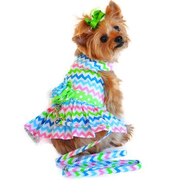 Dog Dress - Multi-Colored Wave Designer With Matching Leash