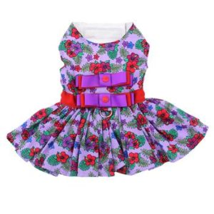 purple-red-floral-dress-with-matching-leash-2861